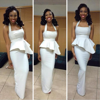 2016 South Africa White Mermaid Prom Dresses 2016 Arabic Formal Party Gown Custom Made Robe De Soiree Plus Size vestido de noche