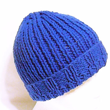Men knit hat in royal blue, fisherman hat, men winter hat, blue men's beanie, watch hat, knit gift for men, hat for him, beanie for him