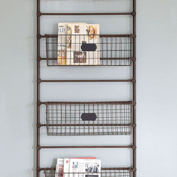 Creative Co-Op Inspired Home Metal Leaning Shelf with 5 Bins