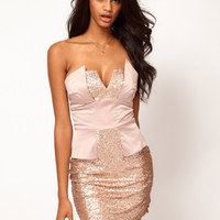 Strapless Peplum Dress in Sequin