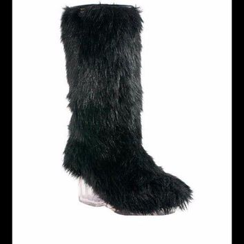 Authentic Chanel Fantasy Fur Boots Black NEW bags and box 36.5 Women's Fits 5.5