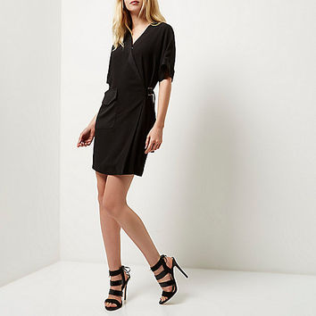 Black tux shirt dress - shirt dresses - dresses - women