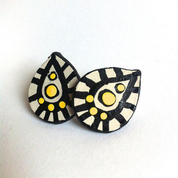 Geometric Studs- Yellow Statement Earrings, Zen Doodle Jewelry, Pear Shaped, Tribal Print, Trippy Pattern