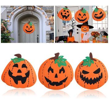 NICEXMAS 3pcs Halloween Decoration Felt Huge Pumpkin Banner with 6M String and Threading Stick for Happy Halloween Decoration