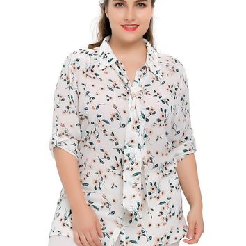 Chicwe Women's Plus Size Chiffon Button Down Blouse Shirt Top V Neck with Tie 1X-4X