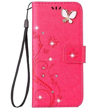 Auroralove iPhone 7 Plus Luxury Handmade Bling Rhinestone Soft Slim Flip Stand Wallet Case for iPhone 7 Plus 5.5 Flower Butterfly PU Leather Case for Girls Women-Rose Red