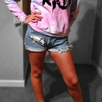 RAD PASTEL GALAXY Sweatshirt Sweater Cropped - Off the Shoulder - or Regular XSmall Small Medium