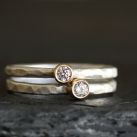 diamond rustic stack rings
