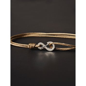 Infinity Bracelet - Taupe cord men's bracelet with silver clasp