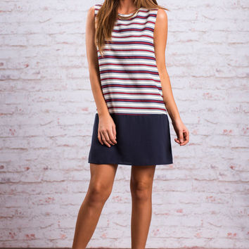 Band Of Stripes Dress, Red-Blue