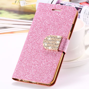 MOQ 1PCS Luxury Sexy Women Girl Glitter Bling Diamond Leather Ca. Phones  Cases 4394065983