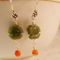 Green Jade Flowers, Carnelian Drops and Bali Silver Earrings, Semi Precious Gemstone Jewelry, Nature Jewelry, Handcrafted
