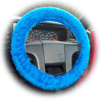 Faux fur Royal Blue fuzzy car steering wheel cover fluffy furry car accessories