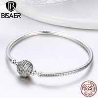 2018 New 100% 925 Sterling Silver Delicate Life Basic Chain Charm Bracelet for Women Fine Jewelry DIY Accessories Gift HSB062