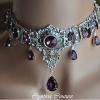 Art Deco Necklace,Vintage Style Choker,Swarovski Crystal Amethyst Choker,Gothic Choker,Gothic Wedding,Victorian Wedding,PURPLE PASSION
