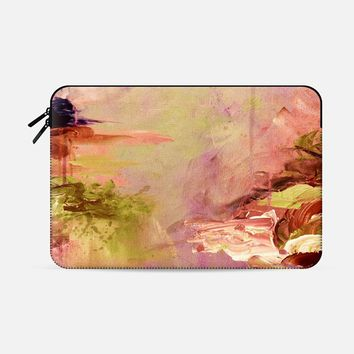 WINTER DREAMLAND 3 - Colorful Abstract Acrylic Painting Art Peach Coral Pink Mauve Maroon Wine Plum Purple Brown Green Nature Coastal Landscape Chic Whimsical Textural Swirls Modern  Macbook Pro 15 sleeve by Ebi Emporium | Casetify