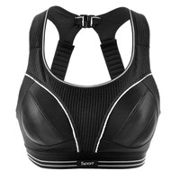 Women's Powerful Racerback Full Coverage Support Sports Run Bra Black