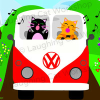 Volkswagon Volkswagen VW love bug bus van road trip school classroom Cat art print driving girl boy baby car nursery wall decor kid playroom