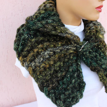 Chunky Neck Warmer Knit Cowl Scarf Green Neck Warmer Green Christmas Scarf Chunky Neck Warmer EXPRESS SHIPPING