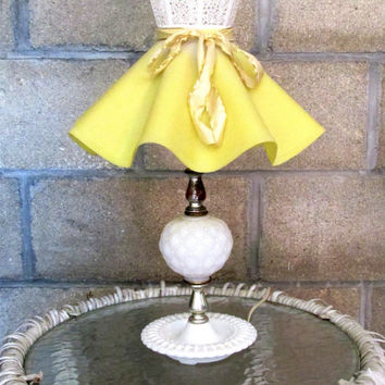 Vintage Dresser Lamp Cottage Chic White Hobnail With Yellow Poodle Skirt Lamp Shade 1950s Collectible 1950s 16 Inch Lamp Item 1766