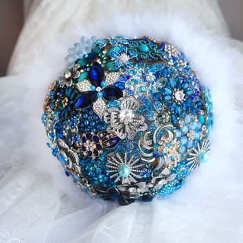 Sky Blue & Midnight Blue  bridal brooch bouquet ,  sapphire Wedding Bride 's Bouquet, Jewelry feather bridal  brooch bouquets