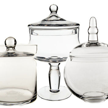 Apothecary Jar Glass Candy Buffet Jar Set of 3 pcs #GAJ134/120/121-15