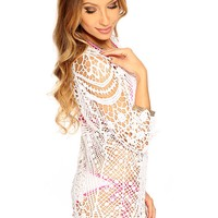 White Floral Crochet Cute Swimsuit Cover Up