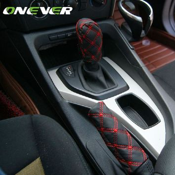 Onever 2Pcs/Set Microfiber Leather Gear Shift Knob Cover Case & Hand Brake Sleeve Protector Car Decor Handbrake Protective Cover
