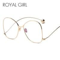 ROYAL GIRL Fashion sunglasses clear lens Women Glasses UV400 protection Personality Exaggerated Men Sun Glasses SS051