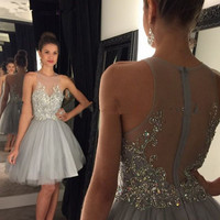 Robe De Cocktail Fashion Cocktail Dresses 2017 Sexy High Neck Knee-Length Crystal Beading Short Silver Gray Cocktail Dress Women