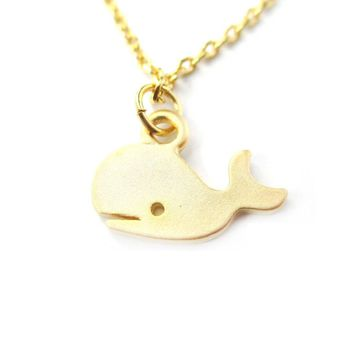 Adorable Whale Shaped Animal Inspired Charm Necklace in Gold | Animal Jewelry