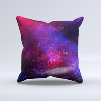 Vivid Pink Galaxy Lights Ink-Fuzed Decorative Throw Pillow