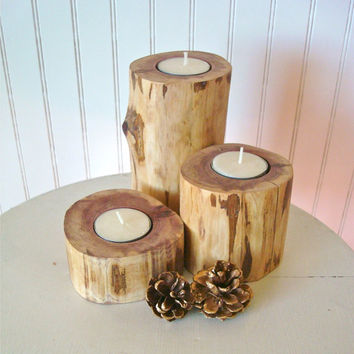 Handmade Rustic Candle Holders CEDAR Wood Set of 3 Pillar Tea Lights Wooden