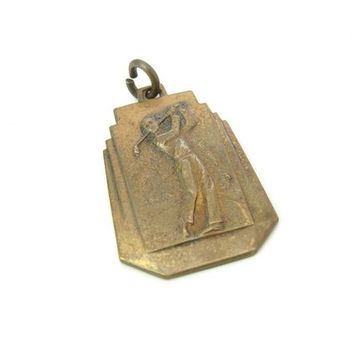 Hole in One Golfing Medal Golf Sports Pendant Golfer Teeing Off Embossed Brass US Royal Golf Ball Advertising Vintage Art Deco Award Key Fob