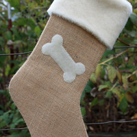 Burlap Christmas Stocking- Burlap and Bone for Dog