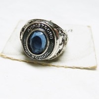 Class Ring Charm by Danecraft - Sterling Silver Armstrong High School Charm with Blue Stone - Old Store Stock on Card