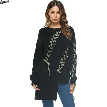 Black Contrast Lace Up Jumper Asymmetric Hem Knitted Sweater Women Long Sleeve Round Neck Casual Loose Autumn Pullover