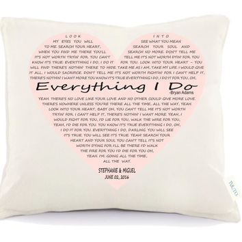 Love song pillow, valentine's day pillow , Personalized pillow, Lirycs pillow, wedding gift Anniversary gift, two year anniversary(D5)