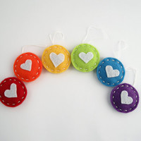 Rainbow hearts - party favors, home decoration, gift tags