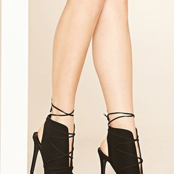 Faux Suede Caged Stilettos