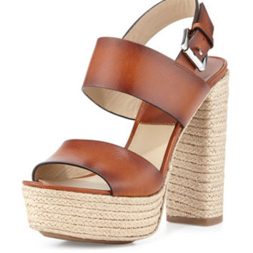 Michael Kors Collection Summer Leather Jute Sandal, Luggage