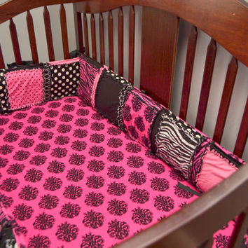 Custom Crib Bumpers, Hot Pink and Black, Rag Quilt Style, You Design for a Girl