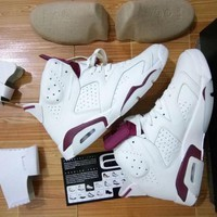 Air Jordan Retro 6 OG MAROON INFRARED RED Top Quality man basketball shoes