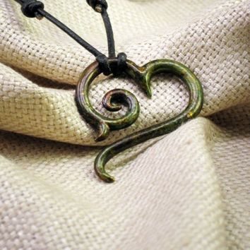 Bronze Moss Tribal Heart Pendant