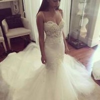 Spaghetti Straps Mermaid Bridal Wedding Dress with Pearls Custom Size 0 2 4 6 8