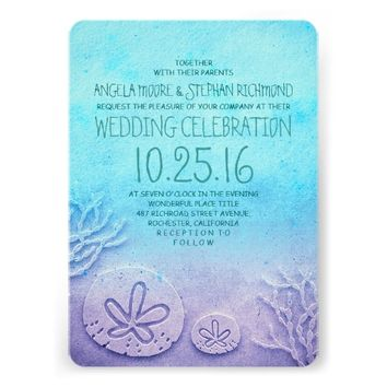 Ombre beach wedding invitations - turquoise blue