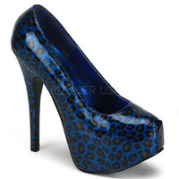 Bordello Teeze Blue Cheetah Patent Stilettos