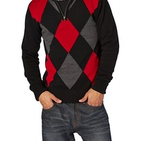 Red & Gray Argyle Sweater Pullover
