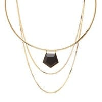 Gold Chain & Stone Choker Necklaces - 2 Pack by Charlotte Russe