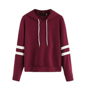 Women Hoodie For Autumn Ladies Burgundy Long Sleeve Varsity Striped Drawstring Hooded Pullover Sweatshirt